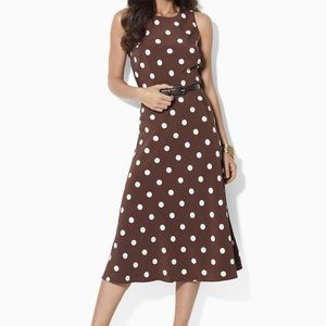 LAUREN Ralph Lauren Brown Silk Polka Dot Dress
